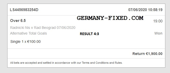 Germany Over goals fixed match
